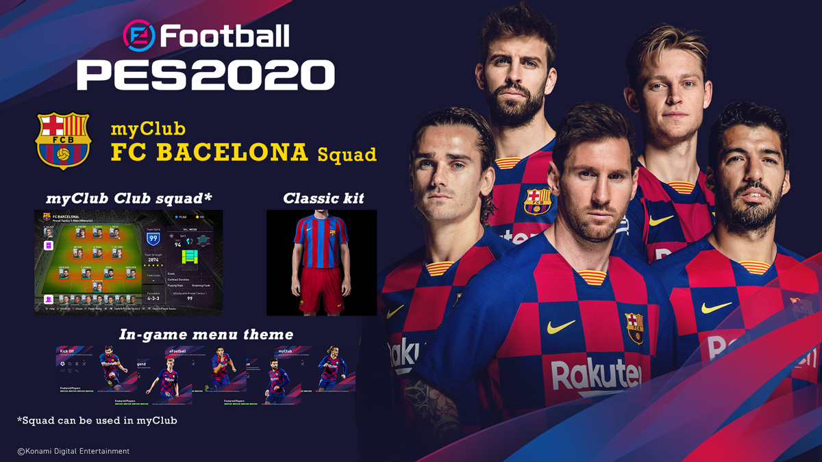 Get your hands on eFootball PES 2020's myClub mode DLC and tear up the pitch with your favourite club!